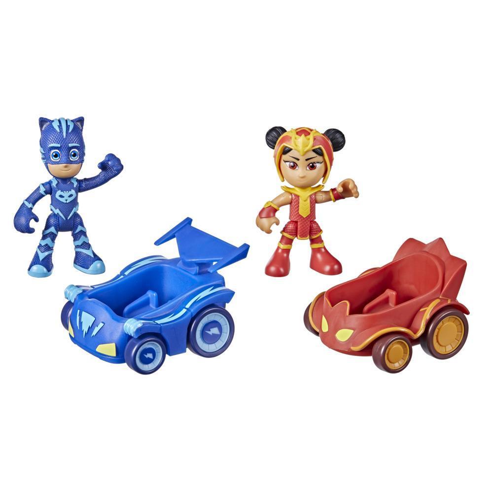 Pijamaskeliler İkili Figür ve Mini Araç - Kedi Çocuk vs Ejderha Kız