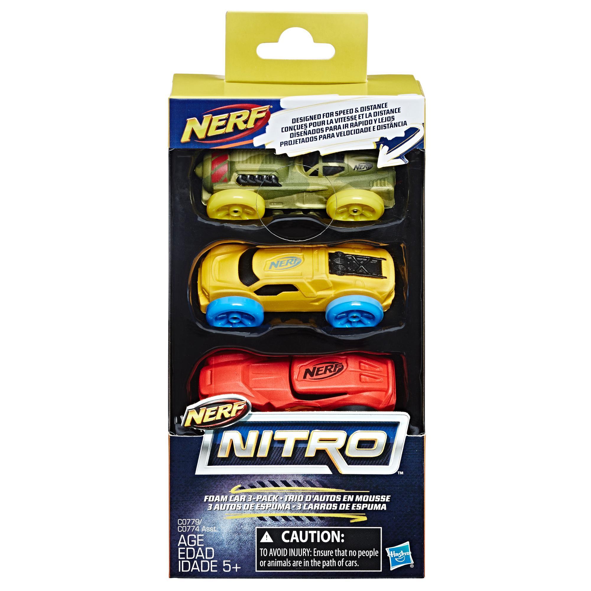 Nerf Nitro Araba 3'lü Yedek Paket (Sarı/Yeşil/Kırmızı)