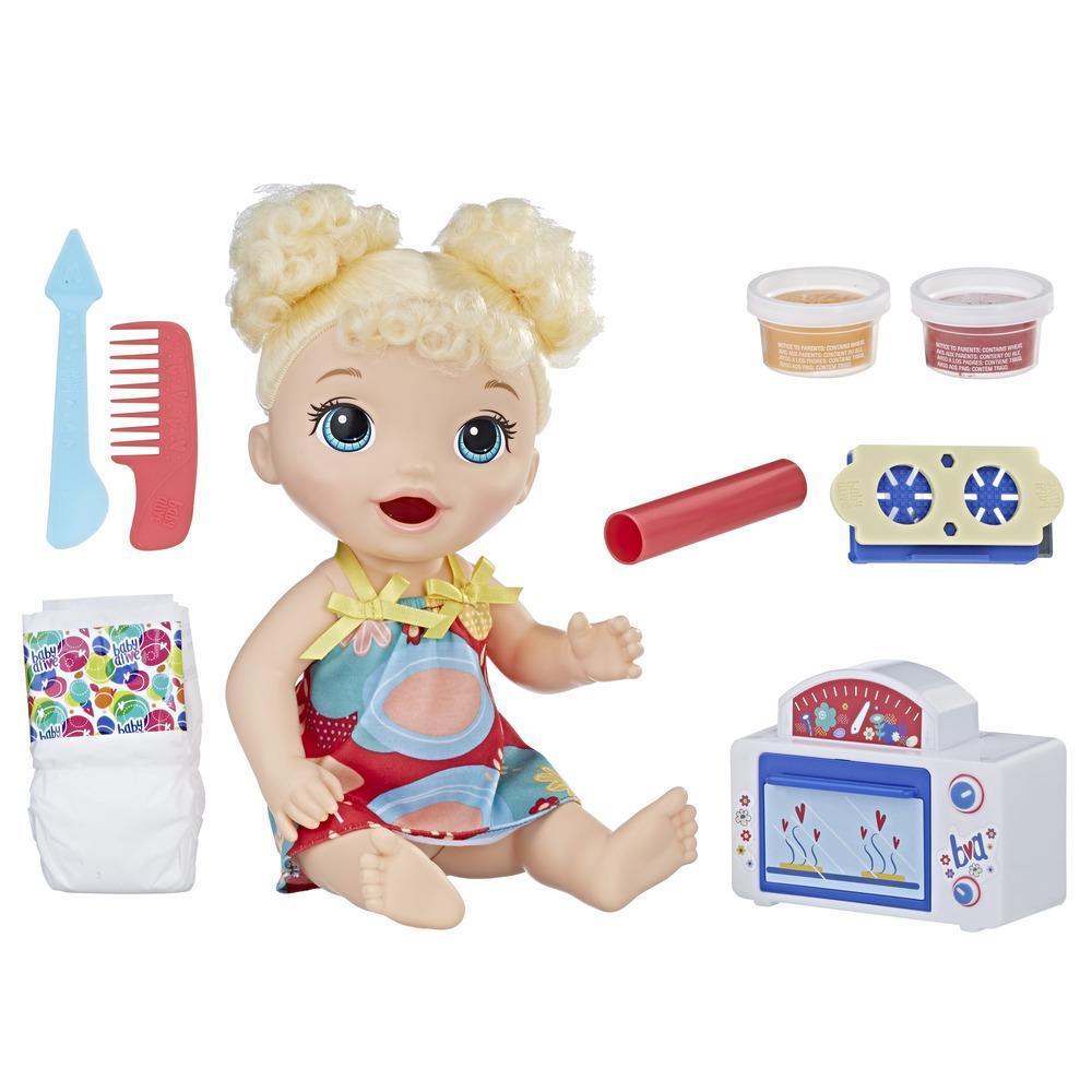 Лялька Бейбі Елайв Кучерява Білявка з іграшковою піччю
